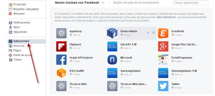 Lista de aplicaciones autorizadas en Facebook