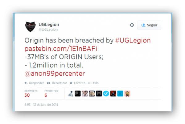 Ataque de UCLegion a la plataforma de venta online Origin