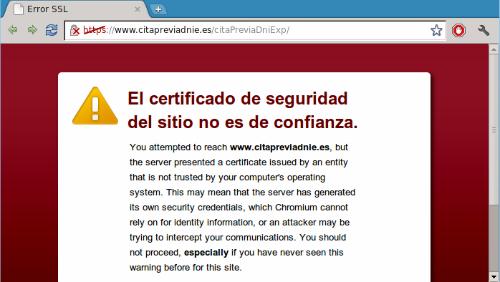 Aviso de certificado emitido por empresa excluida de la lista de entidades de confianza