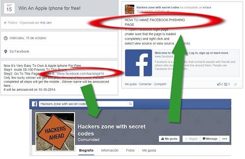 Página sospechosa de Facebook
