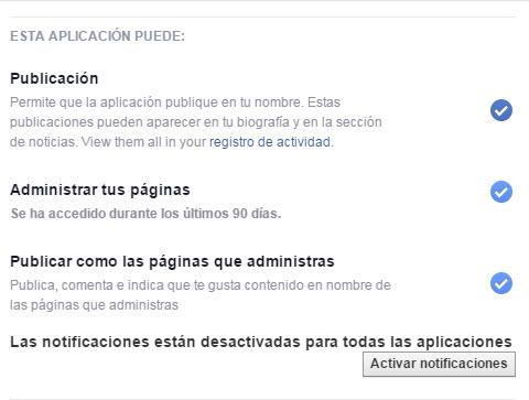 Permisos de aplicaciones en Facebook