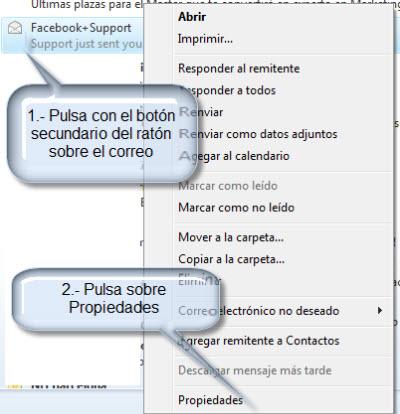 Como ver las propiedades de un mensaje