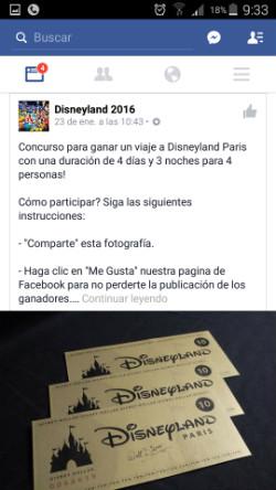 Sorteo de entradas para DisneyLand París en Facebook