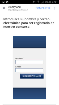 Formulario phishing de registro en el sorteo