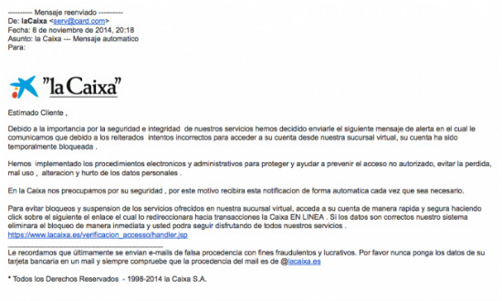 Phishing La Caixa
