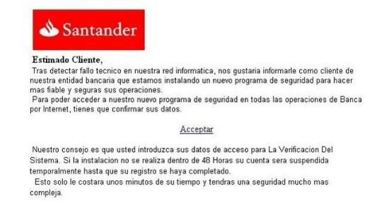 Phishing Banco Santander