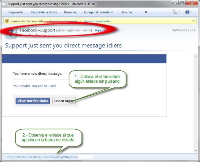 Intento de phishing por seguimiento de enlace