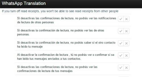 Traducciones Whatsapp para ocultar confirmación de lectura